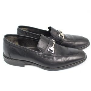 Johnston & Murphy Black Leather Putney Bit Loafers
